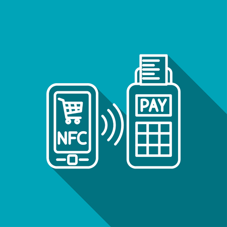 contactless: nfc payment from mobile phone icon Illustration