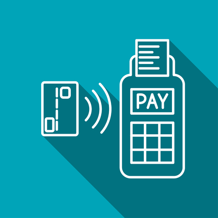 over paying: Card paying wirelessly over POS terminal. Vector icon.