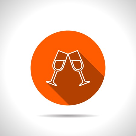 two: Two glasses of wine or champagne icon