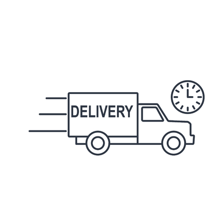 delivery truck with clock icon