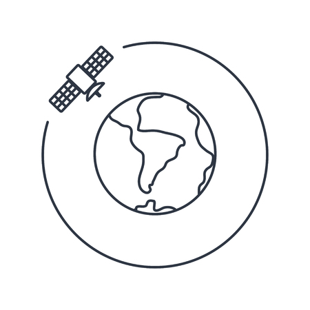transponder: Vector artificial satellite in space, flat icon