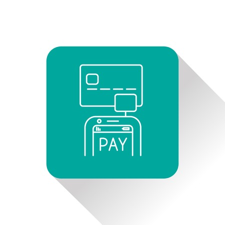 smart card: Mobile payment. Credit card reader on smartphone scanning a credit card