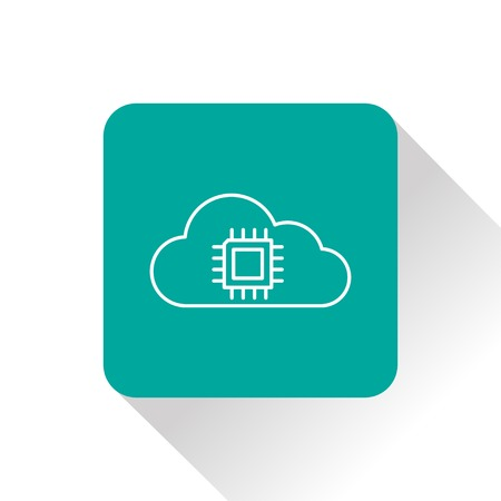 electrical part: Icon of microchip in cloud Illustration