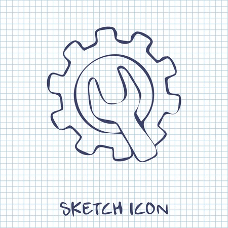 school kit: Wrench and gear icon, vector illustratoon