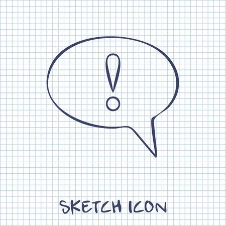 signo de admiracion: Icono de la burbuja del discurso con signo de exclamaci�n, ilustraci�n vectorial