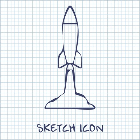 execute: Starting rocket icon, vector illustration