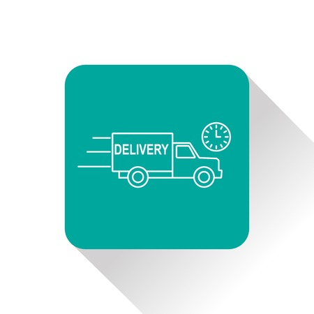 rushing: delivery truck with clock icon