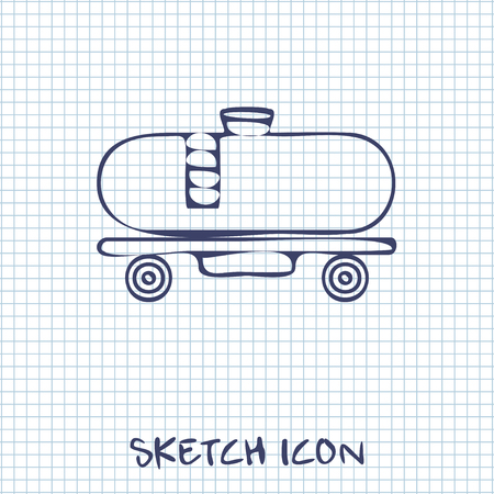 cistern: Railroad tank sketch icon