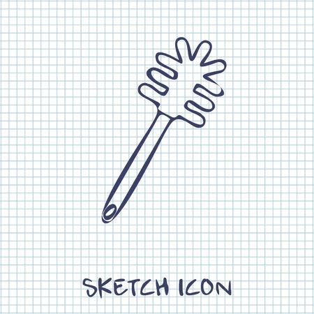 toilet brush: toilet brush sketch icon