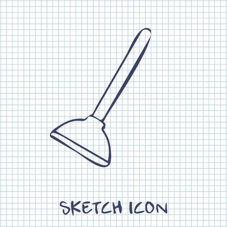 plunger: Toilet Plunger sketch icon Illustration