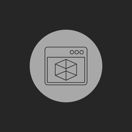 operating system: Vector icon of 3d program window Illustration