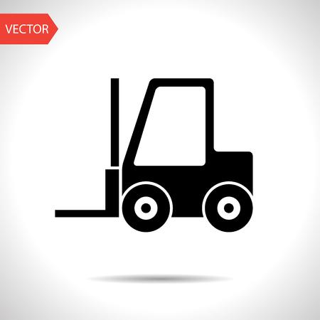 warehouse forklift: vector de montacargas icono negro Vectores