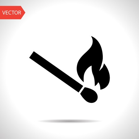 fire damage: burning match vector icon Illustration