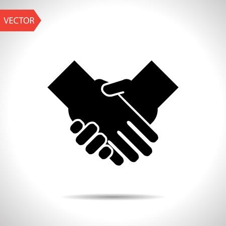saludo de manos: apretón de manos de vectores icono negro Vectores