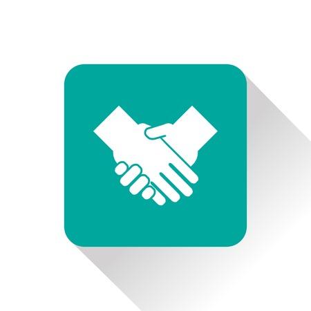 saludo de manos: apretón de manos del vector del icono plana
