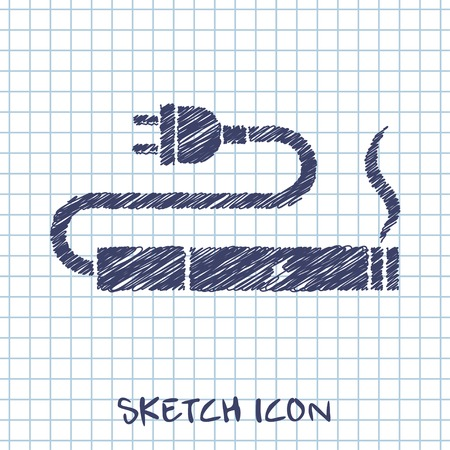 lading: electronic cigarettes charge sketch icon Stock Illustratie