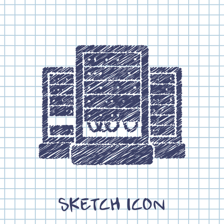 cabinets: server cabinets vector sketch icon