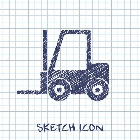 warehouse equipment: forklift sketch icon Illustration