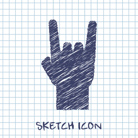 rock and roll: rock hand sign sketch icon Illustration