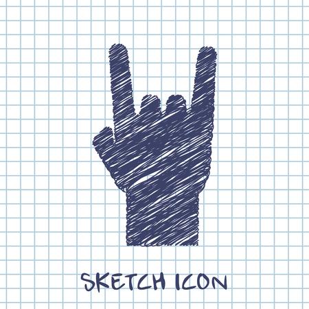 rock music: rock hand sign sketch icon Illustration