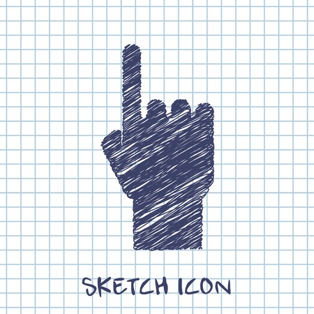 pointing hand: pointing hand sketch icon
