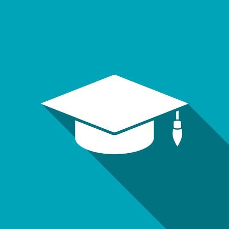 graduation cap and diploma: academic hat vector icon