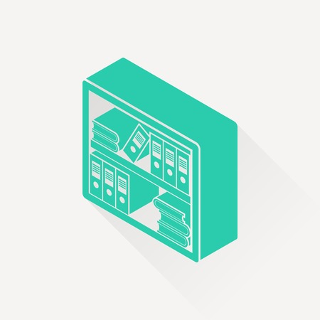 bibliography: bookshelf isometric 3d icon