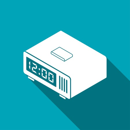 digital clock: digital alarm clock isometric 3d icon Illustration