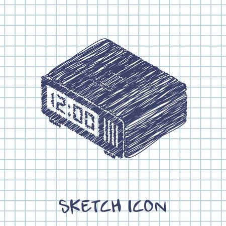 pm: digital alarm clock isometric 3d icon Illustration