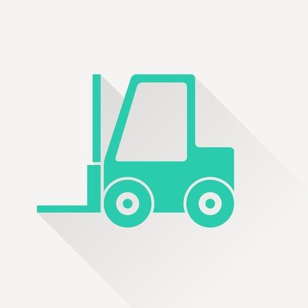 carretillas almacen: vector icono de la carretilla elevadora plana
