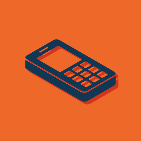 old technology: cell phone 3d isometric icon