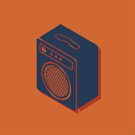 guitar amplifier isometric 3d icon