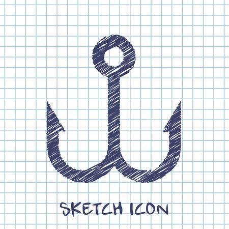 fish hook: Barbed fish hook vector sketch icon