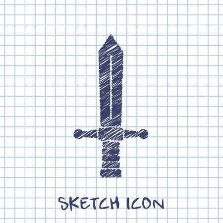 longsword: medieval sword vector sketch icon