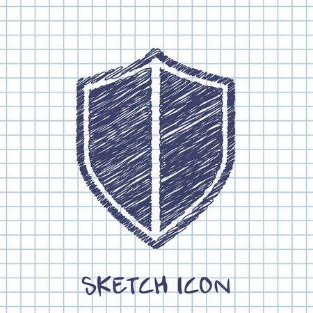 honor guard: shield safety vector sketch icon