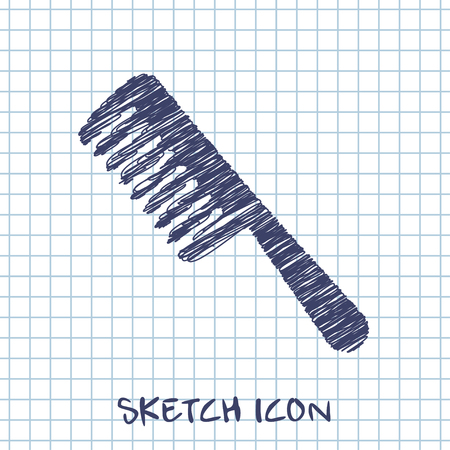 comb hair: hair comb vector sketch icon