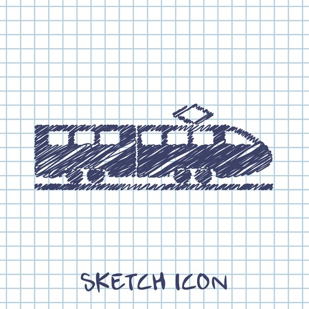 locomotion: speed train vector sketch icon