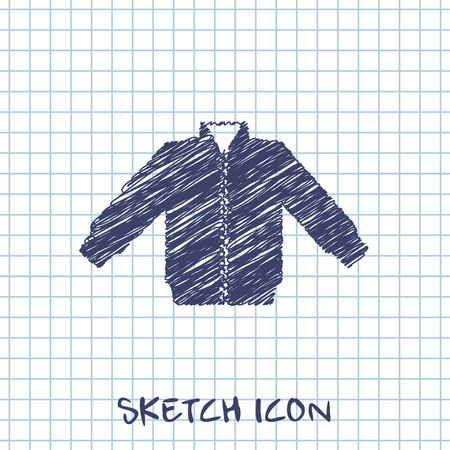 spring coat: casual jacket vector sketch icon