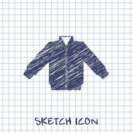 warmed: casual jacket vector sketch icon