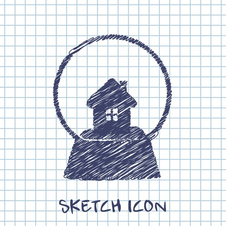 snowglobe: snowglobe with house vector sketch icon