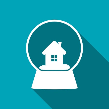 augur: snowglobe with house vector icon Illustration