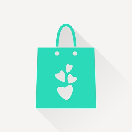 wit: present bag wit hearts vector icon