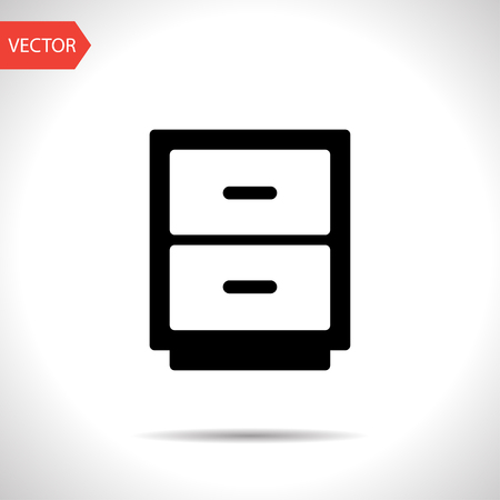drawer: office drawer vector icon Illustration