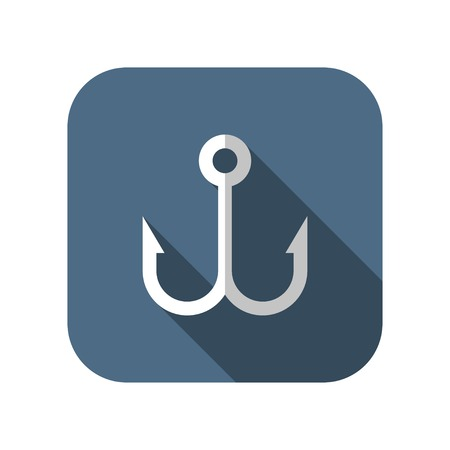 fish hook: Barbed fish hook vector icon