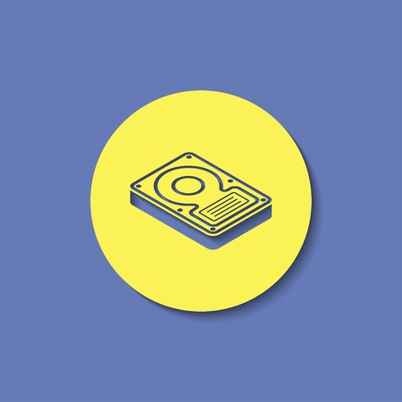 winchester: hard disk drive storage isometric 3d icon