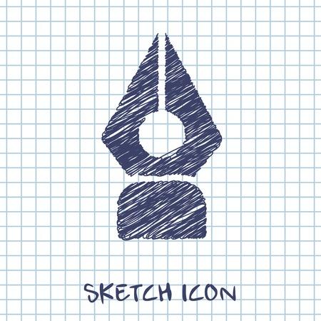 ink pen vector doodle icon. Sketch illustration Illustration