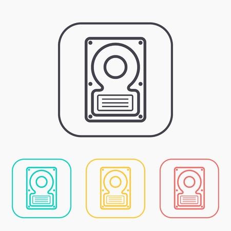 disks: icon of hard disk color set