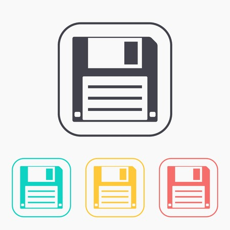 diskette: icon of hd diskette color set