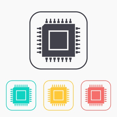 main part: icon of microchip color set