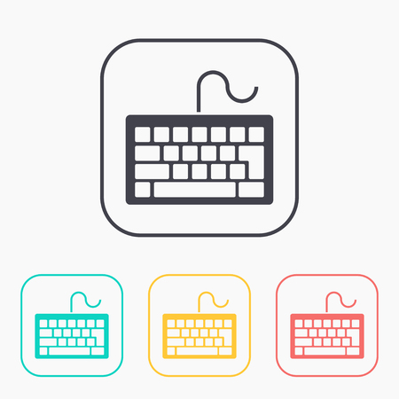 put the key: icon of keyboard color set